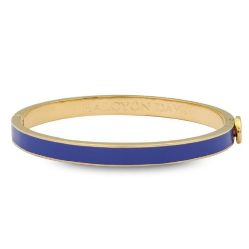 Halcyon Days - Skinny Plain Deep Cobalt & Gold Bangle
