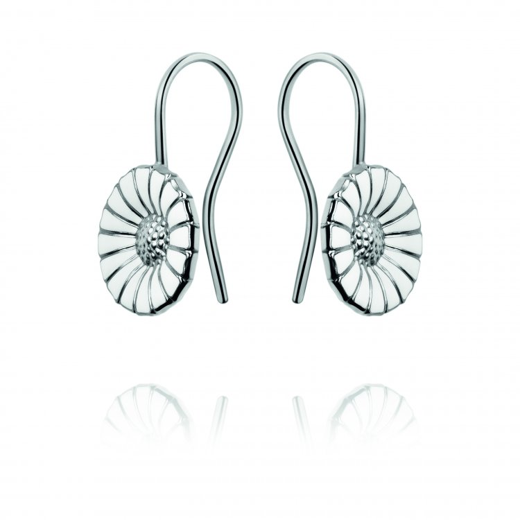 6ed30e6d7 Georg Jensen - Daisy, White Enamel and Sterling Silver Hook Earrings    Guest and Philips