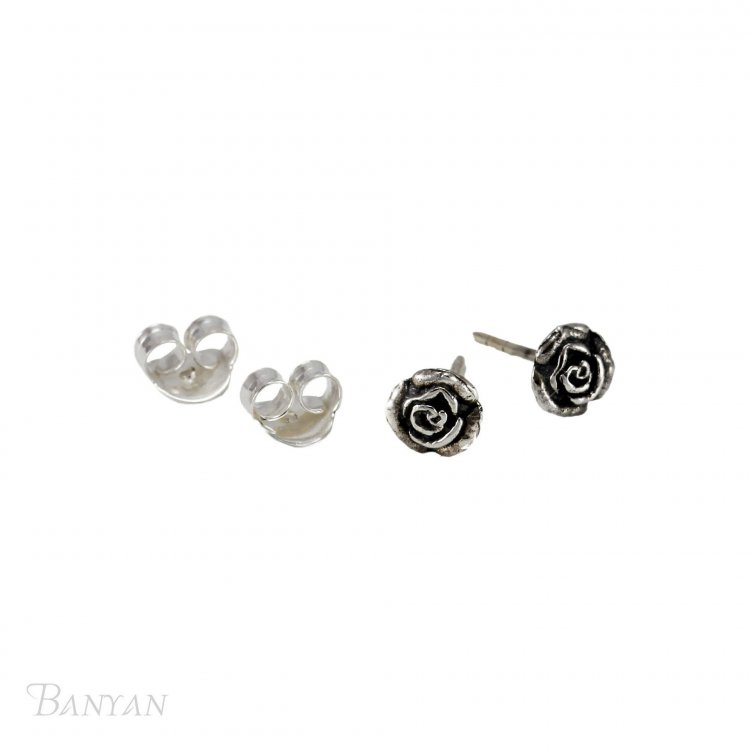 635a58a66 Banyan - Sterling Silver Oxidised Rose Stud Earrings | Guest and Philips