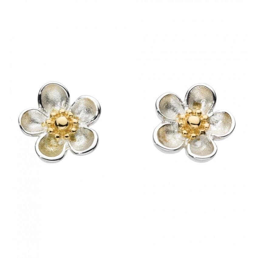 Kit Heath - Wood Rose, Sterling Silver and 18ct Yellow Gold Plate, Daisy  Stud Earrings