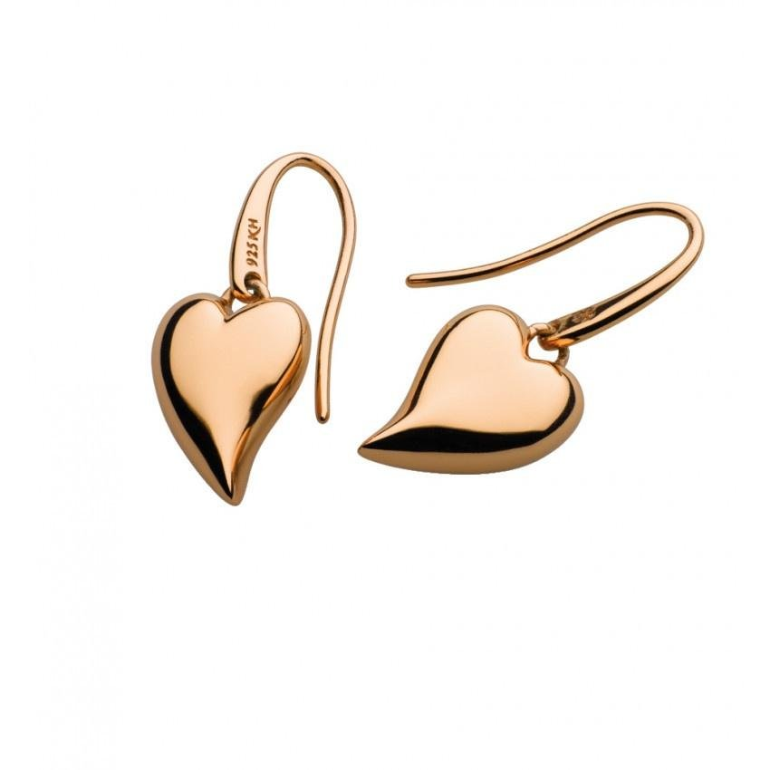 Kit Heath - Desire Lust Heart Rose Gold Plate Drop Earrings
