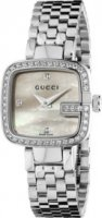 Gucci - Mother of Pearl and Diamond Set, Stainless Steel and Black Leather Watch
